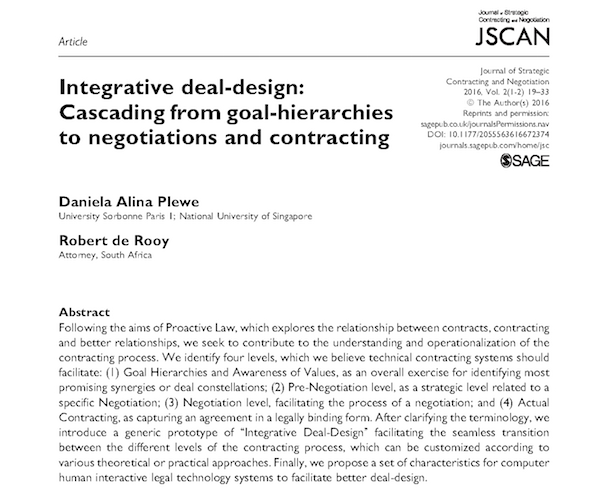 Integrative deal design - Plewe & de Rooy