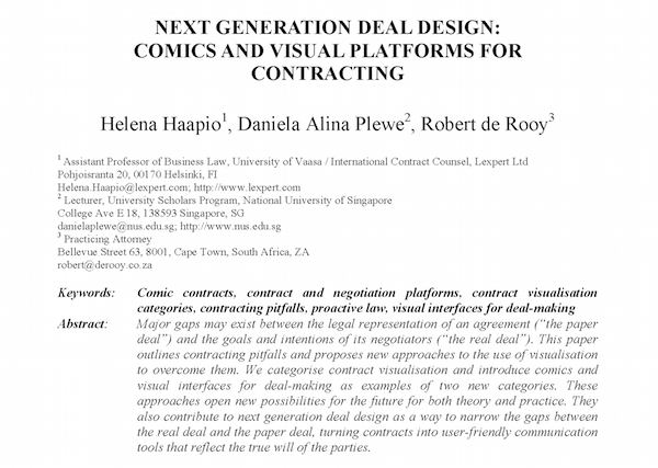 Next Generation Deal Design Comic Contracts - Haapio, Plewe & de Rooy